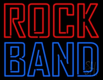 Double Stroke Red Rock Blue Band LED Neon Sign
