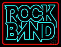 Double Stroke Rock Band Red Border LED Neon Sign