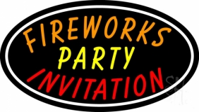 Fireworks Party Invitation In A LED Neon Sign