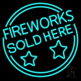 Fireworks Sold Here Circle LED Neon Sign