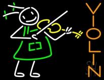 Girl Playing Violin LED Neon Sign