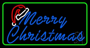 Green Border Merry Christams With Hat LED Neon Sign