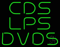 Green Cds Lps Dvds LED Neon Sign
