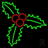 Green Christmas Holly Neon Sign
