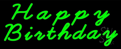 Green Cursive Happy Birthday Neon Sign