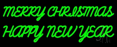 Green Merry Christmas Happy New Year LED Neon Sign