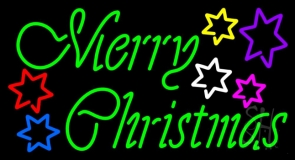 Green Merry Christmas With Multi Color Stars LED Neon Sign