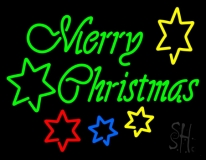 Green Merry Christmas With Stars LED Neon Sign