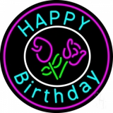 Happy Birthday With Flowers LED Neon Sign