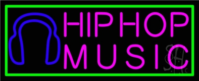 Hip Hop Music With Line LED Neon Sign
