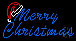 Merry Christams With Hat LED Neon Sign