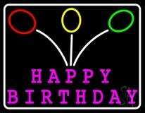 Pink Happy Birthday LED Neon Sign