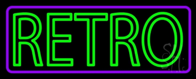 Purple Border Green Retro Neon Sign