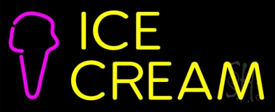 Yellow Ice Cream Cone LED Neon Sign