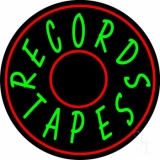 Records Tapes With Circle LED Neon Sign