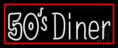 Red Border 50s Diner Music Cd Neon Sign