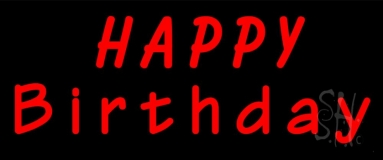 Red Happy Birthday Neon Sign