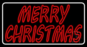 White Border Double Stroke Merry Christmas LED Neon Sign
