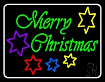 White Border Green Merry Christmas With Stars LED Neon Sign
