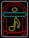White Border Juke Box With Musical Note LED Neon Sign