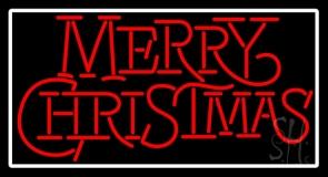 White Border Merry Christmas Block LED Neon Sign