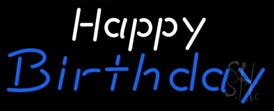 White Happy Blue Birthday Neon Sign