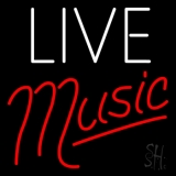 White Live Red Music LED Neon Sign