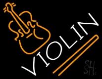 White Violin LED Neon Sign
