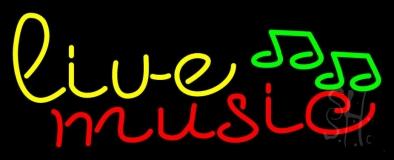 Yellow Live Music Cursive LED Neon Sign