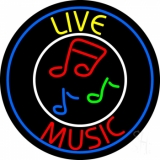 Yellow Live Red Music With Circle LED Neon Sign