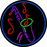 Yellow Saxophone Multicolored Musical Note LED Neon Sign