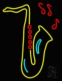 Yellow Saxophone Musical Note LED Neon Sign