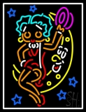 Betty Boop With Moon LED Neon Sign