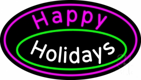 Cursive Happy Holidays Neon Sign