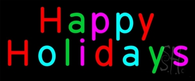 Multicolored Happy Holidays Neon Sign