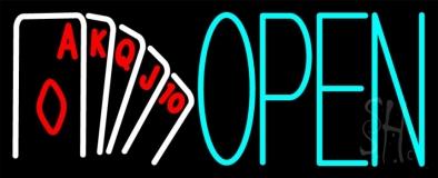 Open Royal Flush Poker LED Neon Sign
