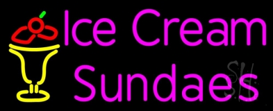Pink Ice Cream Sundaes LED Neon Sign