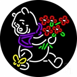 Pooh With Flowers Butterfly LED Neon Sign
