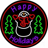 Purple Happy Holidays Snow Man LED Neon Sign