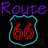 Purple Route 66 Neon Sign