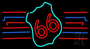 Red 66 Route LED Neon Sign