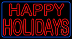 Red Double Stroke Happy Holidays LED Neon Sign