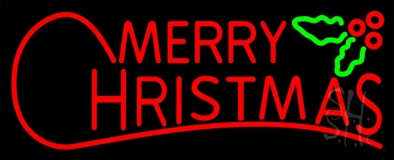 Red Merry Christmas Block Neon Sign