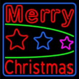 Red Merry Christmas With Stars LED Neon Sign