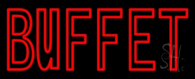 Red Double Stroke Buffet LED Neon Sign