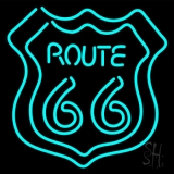 Turquoise Double Stroke Route 66 LED Neon Sign