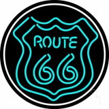Turquoise Double Stroke Route 66 Oval LED Neon Sign