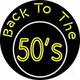 Yellow Back To The 50s Block LED Neon Sign