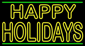 Yellow Double Stroke Happy Holidays LED Neon Sign