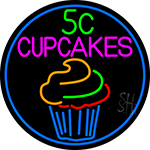 5c Cupcakes In Blue Round LED Neon Sign